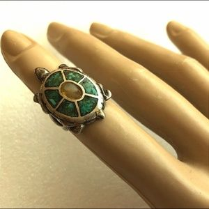 Jewelry - Large vintage Sterling silver inlay Turtle ring s4